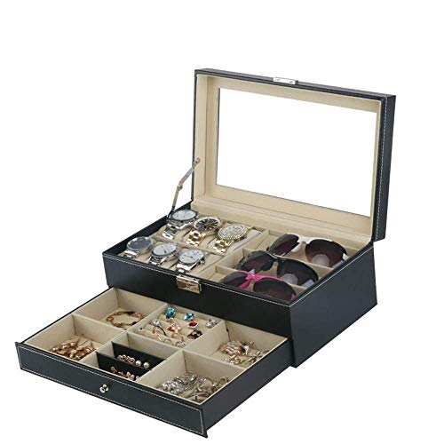 Tendencia de Moda Atractiva, Rendimiento de Alto c SunglassCollection Case Doble Black PU Watch GlassJewelry Box Caja de Almacenamiento multifunción