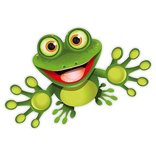 Younikat Funny Frosch I Sticker voor laptop, koffer, koelkast, deur, vuilnisbak, badkamer, grappig, cool, weerbestendig 15 cm groen rood