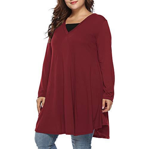 Hansee Hot Sale! Damen-Oberteil, Übergröße, lässig, einfarbig, langärmelig, plissiert, V-Ausschnitt, Bluse, rot, 3XL