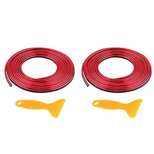 Keenso 2 stk 5m Auto Innenformungs Zier Streifen Linie Aufkleber 3D DIY Nachrüstungs-dekorativer flexibler Streifen(Rot)