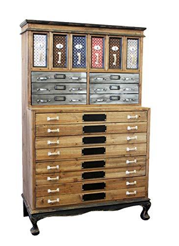 Keyhomestore - Aparador de trabajo con 14 cajones de madera, estilo industrial – 140 x 85 x 40 cm