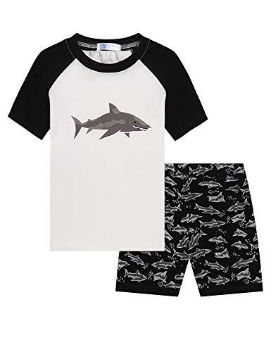 Bricnat Jungen Kurzer Schlafanzug 128 Haie Pyjama Kinder Jungs Kurzarm Zweiteilig Nachtwäsche Outfit Set Sommer