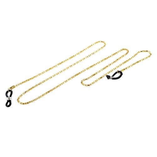 Gesh Gafas de lectura, gafas de sol, cadena de metal, 56 cm, cordón de cuello largo, correa – oro