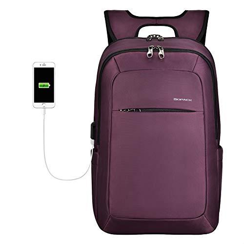 KOPACK Slim Women Laptop Backpack 15.6 inch with USB Charging Port Anti Theft Laptop Bag College Purple