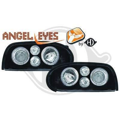 2212385, 1 paar Angel Eyes koplampen, zwart, voor Golf 3 van 1991 tot 1997