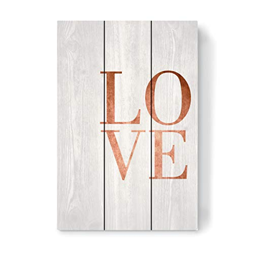 artboxONE Holzbild 45x30 cm Typografie Love Copper von Künstler vanray