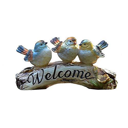 HXiaDyG Tuin Decoratie Vogels Welkom Standbeeld Logo Hars Sculptuur Decoratie Versier Uw Balkon Voordeur Yard Tuin Standbeeld Decoratie