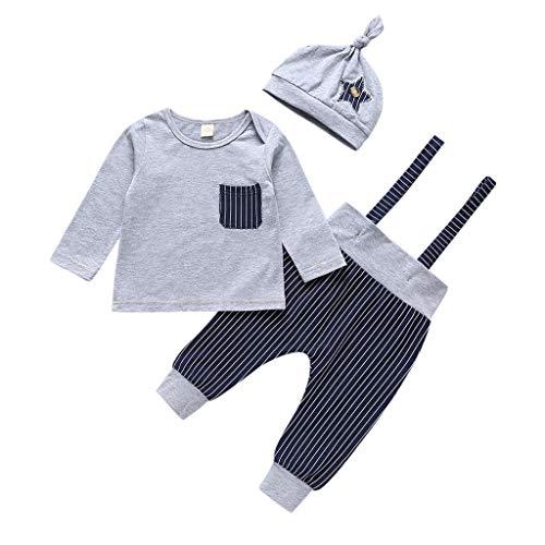 Pas Cher Vêtements enfants Été, 6-12 Mois Ensemble de vêtements pour bébés garçons 3 pièces nouveau-né pour bébé à rayures hauts pantalons Chic Cadeau Saint-Patrick