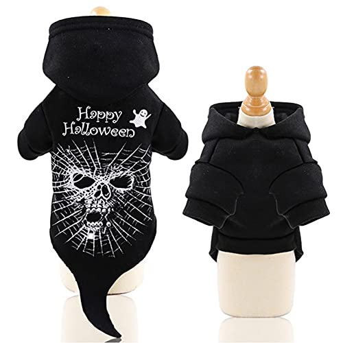 KINDD Pet Dog Costume, Halloween Dog Clothes, Hooded Two Legged Black Skeleton Cosplay Dress Up, French Bulldog Pug Coat for Small Medium Dogs and Cats