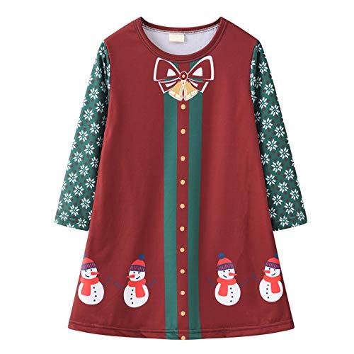 Vestido de fiesta para niña con cuello redondo, manga larga, falda en A, estampado de Navidad, vestido de princesa, I, 5 años
