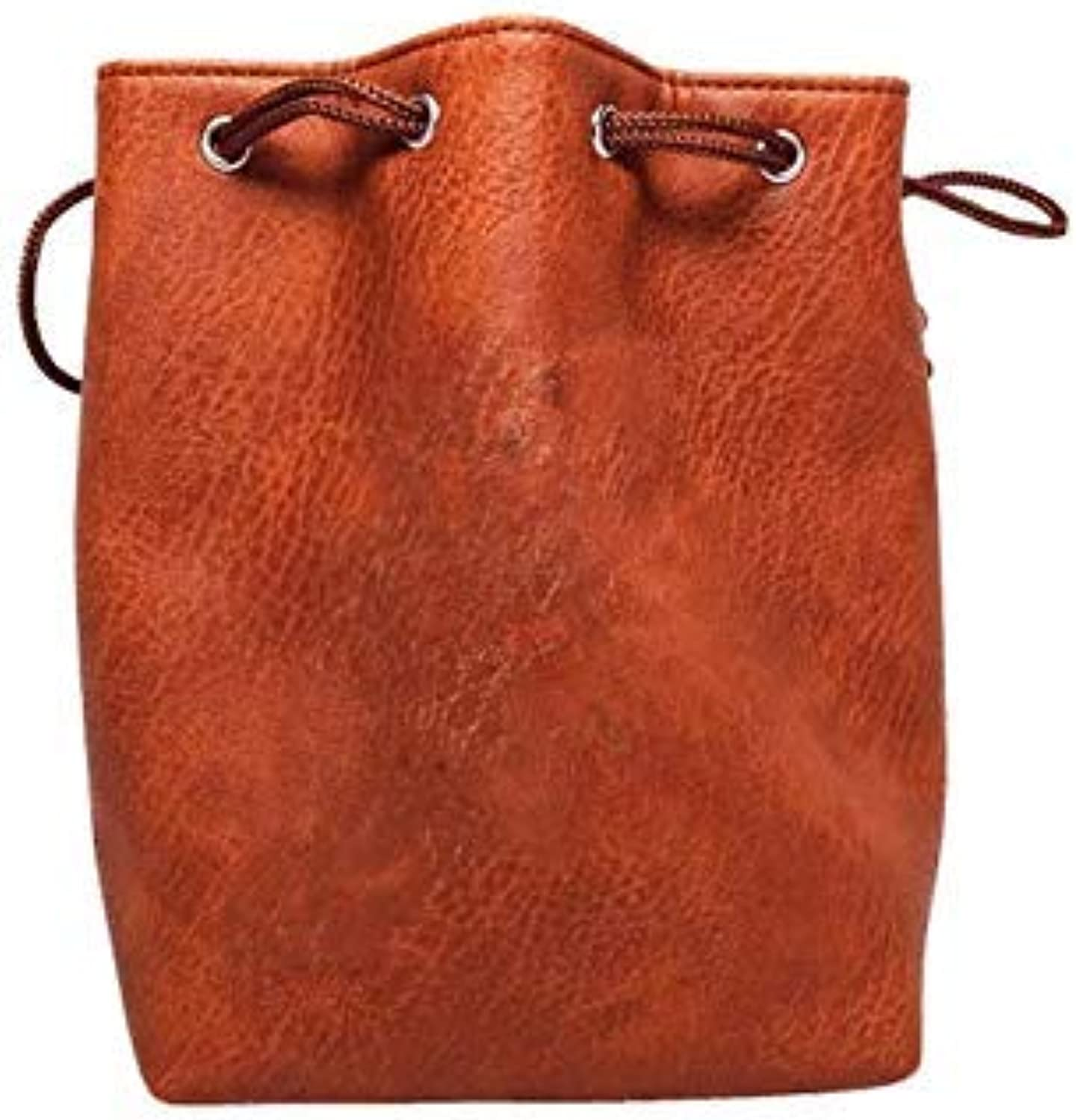 Brown Leather Lite Large Dice Bag  Brown Faux Leather Exterior with Lined Interior  Stands Up on its Own and Holds 400 16mm Polyhedral Dice