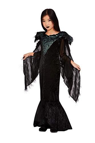 Smiffys Deluxe Raven Princess Costume Disfraz de princesa cuervo de lujo, color negro, L-10-12 Years (63094L)