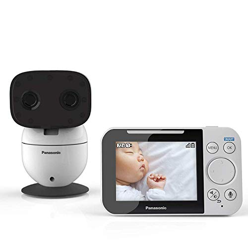Panasonic Video Baby Monitor with Remote Pan/Tilt/Zoom, Extra Long Audio/Video Range, 2 Way Talk & Lullaby or White Noises - KX-HN3001W (White)
