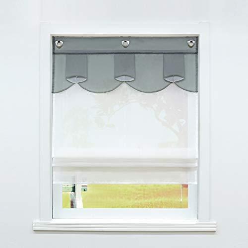 Estor de cortina sin taladrar, con gancho en U, para cocina, con ojales, transparente, voile ovalado, diseño gris, 100 x 140 cm, 1 unidad
