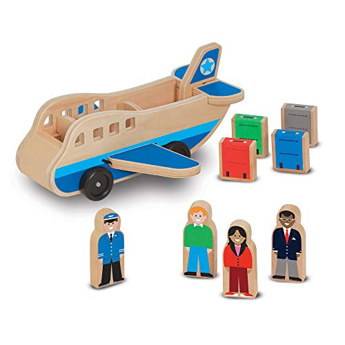 Melissa & Doug Wooden Airplane Play Set With 4 Play Figures and 4 Suitcases