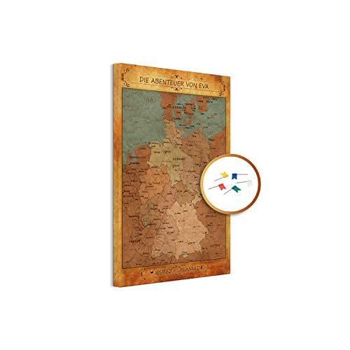 PinDeineWelt - Hochwertige Vintage Style Reise Pinnwand DEUTSCHLANDKARTE Canvas - Pinnwand XXL - Personalisiert mit [Namen] – inkl. Pins und PERSONALISIERUNG, Größe: 80x60 cm