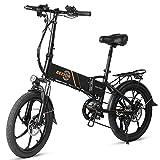Bezior 350W 20 pollici Pieghevole Power Assist Bicicletta elettrica Ciclomotore E-Bike 10.4AH Batteria 80 km Gamma per pendolarismo nel fine settimana Shopping nero
