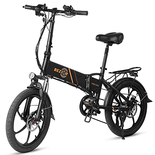Bezior Elektrofahrrad E-Bike 350W 20 Zoll Folding Power Assist Elektrofahrrad Moped E-Bike 10.4AH Batterie 80km Reichweite für Pendler Wochenendeinkäufe