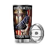 YshChemiy One Nation Under God - Vaso con tapa (600 ml), diseño de bandera americana con tapa