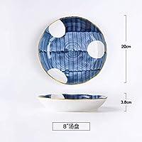 Mei-YY ボウル ホーム和風手描きセラミックプレートディッシュ釉薬の色食器西洋料理ステーキプレート朝食プレート皿のシリアルボウルの組み合わせの集合をサービングパスタプレート 食器
