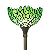 Tiffany Floor Lamp Torchiere Style Up Lighting W12H66 Inch Green Stained Glass Wisteria Lampshade Antique Standing Iron Base 1E26 Foot Switch S523 WERFACTORY Lamps Home Office Decoration Gifts