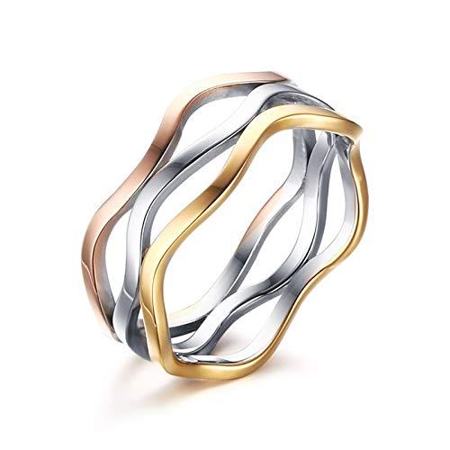 AnazoZ - Anillo de mujer creativo con 3 anillos irregulares, acero inoxidable, círculo alto pulido, joyas de fantasía chapado en oro rosa y oro Less is More anillos, 3 anillos, talla 52 San Valentín