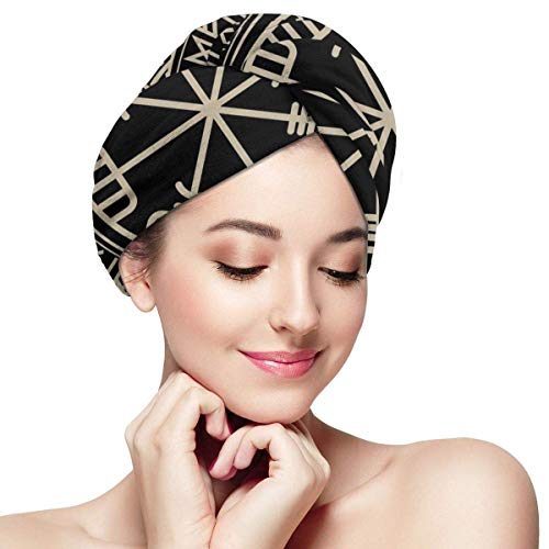 GFHDG Shower Cap for Women and Men,Viking Design. Magical Runic Compass Vegvisir, in The Circle of Norse Runes Dry Hair Cap One Size