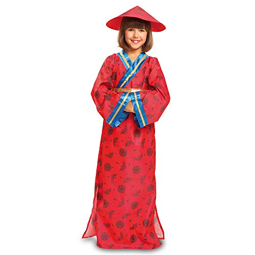 Dress Up America, Disfraz completo con: vestido, cinturón y gorro Disfraz de niña china - Producto disponible, multicolor, talla L, para 12-14 años