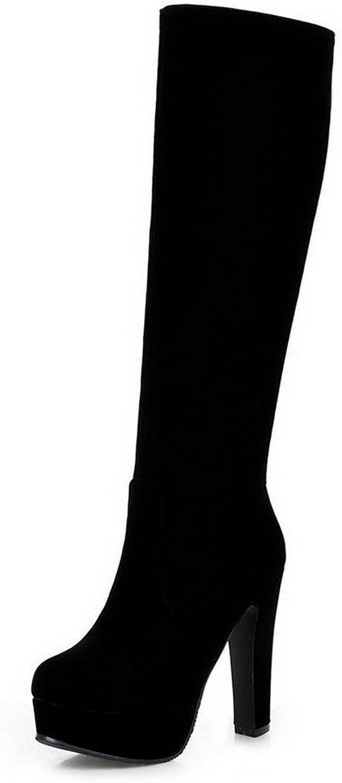WeenFashion Women's Zipper Round Closed Toe High-Heels Flock High-top Boots