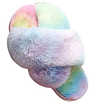 LightFun Girl s Fuzzy Fluffy Furry Slippers Fur Flip Flop Open Toe kids Slippers Cross Band Shoes Slides for Girls House Home Indoor Outdoor  Colorful 12-13