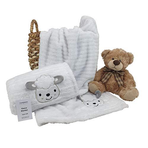 Baby Girl Boy Unisex Soft Fleece Wrap Blanket Pram Cot Crib Moses Basket Sheep