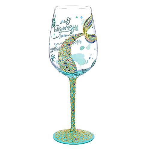 NymphFable Copa de Vino Pintada a Mano Sirena de Colores Dicho Copa de Vino Tinto 15oz Regalo para Familia o Amigo