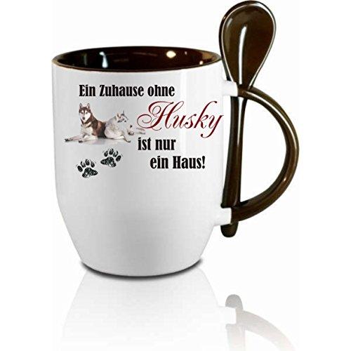 Creativ Deluxe Tasse m. Löffel EIN Zuhause ohne Husky Löffeltasse, Kaffeetasse mit Motiv,Bürotasse, Bedruckte Tasse mit Sprüchen oder Bildern - auch individuelle Gestaltung nach Kundenwunsch