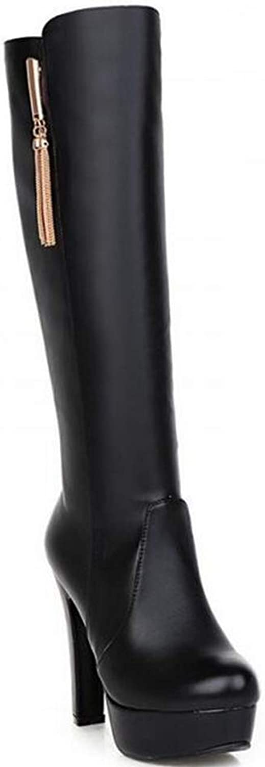 T-JULY Women's Sexy PU Knee-high Waterproof Martin Snow Boot Autumn Winter Warm Black White Brown High-Heeled shoes