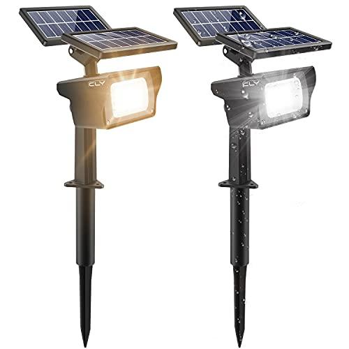 CLY 2er Solarleuchte Garten für Außen Warmweiß Solarstrahler 3 Helligkeitsstufe gartenleuchten solar Solarscheinwerfer 40 LED Solarlampen led solar Strahler für Bäume, Sträucher, Gartenweg, Wand