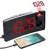 Mpow Reloj Despertador Digital Despertador Proyector con Puerto USB 4 Brillo de Proyección y Display, Pantalla LED de 5'' Números Rojos Ultra Clara, Fácil de Usar, Snooze (incluido el Adaptador)