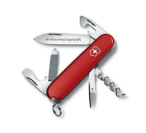 Original Victorinox Couteaux de Poche Modèle Sportsman avec Personnel Gravure sur Lame Gravé avec Logo Motifs Caractères ou Graphique Fin Laser-Gravure 0.3803