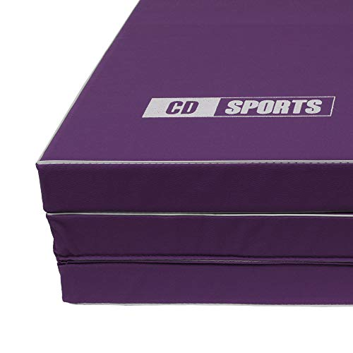 CalmaDragon 85620 Colchoneta Gimnasia Espuma PU Impermeable Alfombra de Protección en 3 paneles plegables Grosor 6 Cm (Purpura)