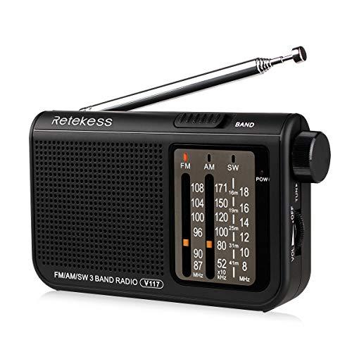 Retekess V117 Portable AM FM Analog Radio Shortwave Battery Operated by 2 AA Battery Transistor Radio with DSP 3.5mm Headphone Jack(Black)