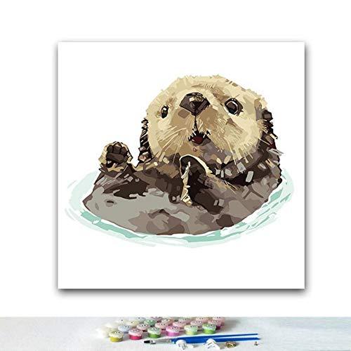 EUFJSDHF digitaal schilderen Draag doe-het-zelf kleurenbeeld door getallen met dierenschilderen van de kleurenaquarel klein door digitale fotolijst