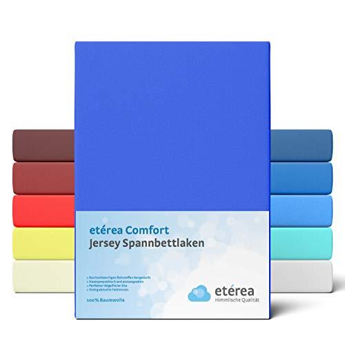 etérea Comfort Jersey Spannbettlaken 90x 200 bis 100x200cm - Weiches Spannbetttuch aus 100% Baumwolle, Bettlaken mit ca. 25 cm Steghöhe und 140 g/m², Blau