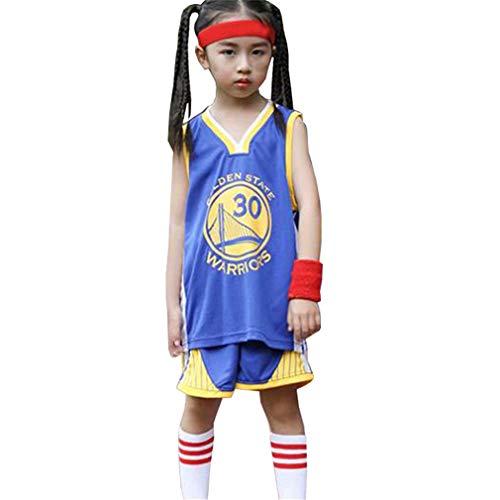 Kinder Teenager Golden State Warriors Basketball Trikot Anzug 30# Stephen Curry, Jungen Mädchen Sommer Uniform Weste Shorts Sets Ärmelloses T-Shirt-Blue-M