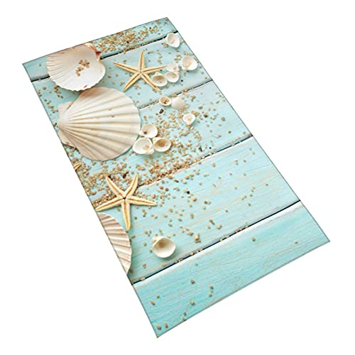 Nautical Seashells Hand Towel Artistic Seashell Starfish Sands On Blue Wooden Boat Face Towel Soft Fingertip Graphic Hand Towels for Bathroom Kitchen Hotel Yoga & Gym 27.5 X 15.7'