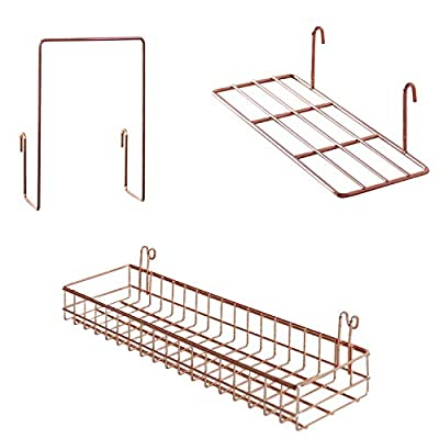 FRIADE Rose Gold Grid Basket with Hooks,Bookshelf,Display Shelf for Wall Grid Panel,Wall Mount Organizer and Storage Shelf Rack for Home Supplies,1 Set of 3 (Rose Gold) - HIGH QUANLITY MATERIAL:Made of iron wire, wear resistant,surface with electroplating technology, anti-oxidation and anti-corrosion, can extend the service life effectively SUITABLE FOR WALL GRID PANEL:Perfect to organize and display your favorites on the wall grid WALL DECOR:It's simple and elegant display with grid panel in dining room, living room, bedroom,apartment,restaurant - wall-shelves, living-room-furniture, living-room - 41jKZ8yTr8L. SS400  -