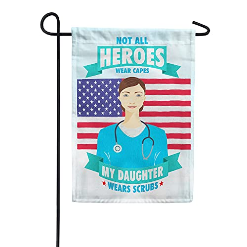 America Forever Flags Double Sided Garden Flag - Nurses Are Heroes Too! - 12.5' x 18', Thank You Healthcare Workers, Fight Against Covid-19 Pandemic Flag, Yard Outdoor Decor Flags