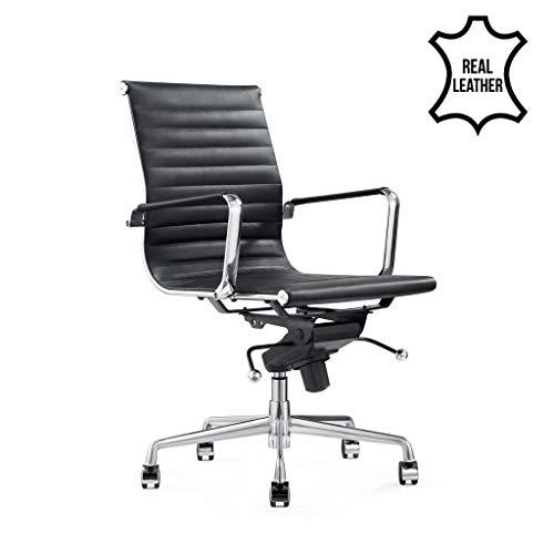 Vivol Design-Schreibtisch-Stuhl - Valencia Schwarz- Bürostuhl Ergonomisch Leder - Bürostuhl 150 kg - Drehstuhl mit Rollen & Armlehnen - Buro Stuhle (Schwarz)