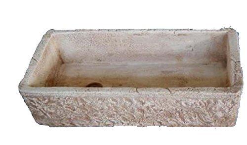 Korensteen granulaat van beton, wastafel en fontein, afmetingen: 80 x 40 x 20 cm. Bruin badkuip Unica