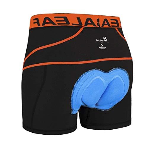 BALEAF Herren Radunterhose Gepolstert Fahrrad Unterhose mit atmungsaktive 4D Gel Sitzpolster Orange S