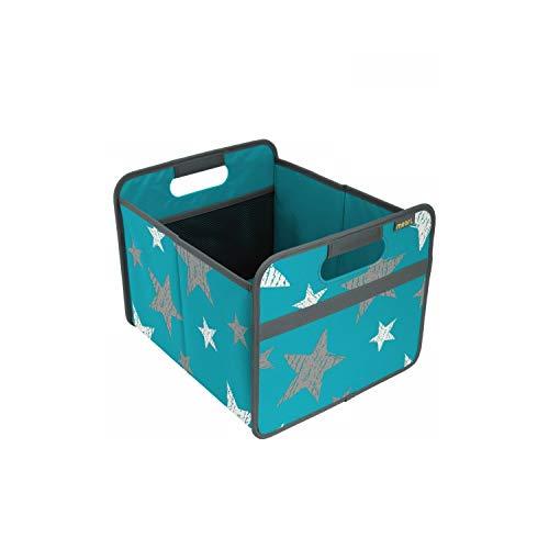 Faltbox Classic Medium Azur Blau / Sterne (Vintage) 32x37x27,5cm abwischbar stabil Polyester Picknick Party Grillen Garten Camping Ausflug Reise Aufräumen Regal