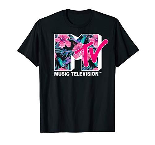 MTV Hummingbird & Tropical Flower Logo Fill Graphic T-Shirt